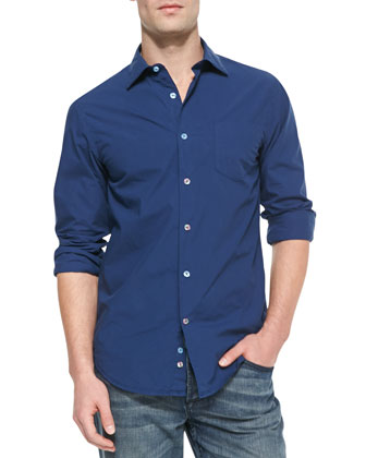 Long-Sleeve Button-Down Shirt, Navy