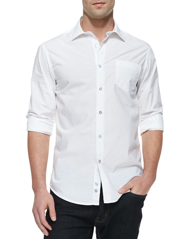 Mens Woven Cotton Long Sleeve Shirt, White   Masons Jeans   White (XXL)