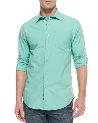 Long-Sleeve Button-Down Shirt, Jade Green