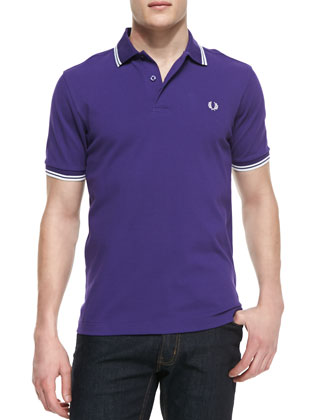Tipped Polo Shirt, Peacock Purple/White