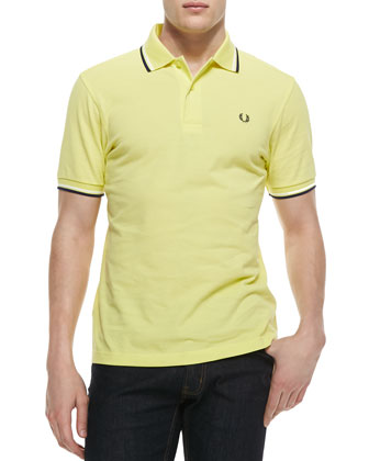 Tipped Polo Shirt, Limelight/Navy/White