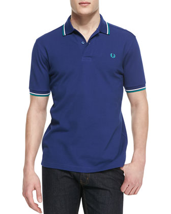 Tipped Polo Shirt, Medieval Blue/Green/White