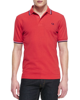Tipped Polo Shirt, Vintage Red/Navy/White