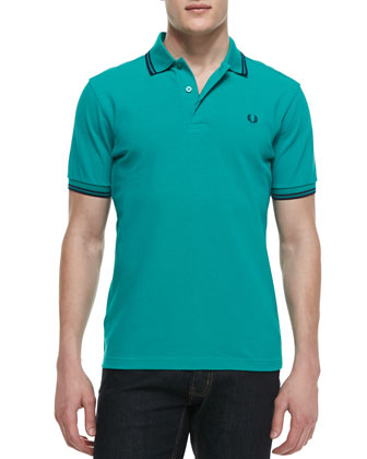 Tipped Polo Shirt, Teal/Navy