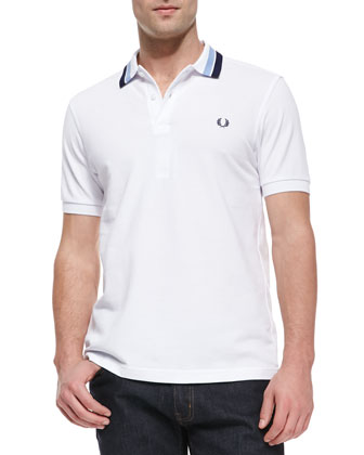 Striped-Collar Pique Polo, White