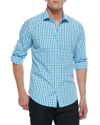 Fazio Check Sport Shirt, Turquoise