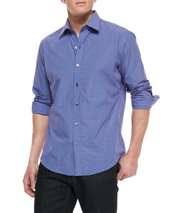 Johnell Plaid Sport Shirt, Purple