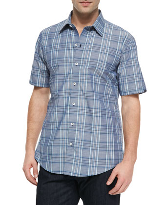 Deeb Windowpane-Plaid Short-Sleeve Shirt, Dark Gray