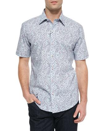 Printed Short-Sleeve Shirt, Light Blue