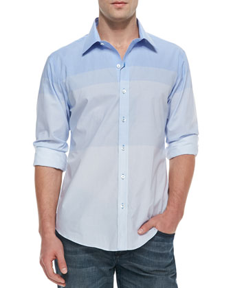 Ombre Sectioned Woven Shirt, Blue