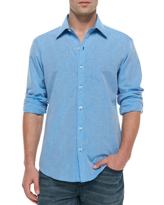 Long-Sleeve Linen-Cotton Shirt, Blue