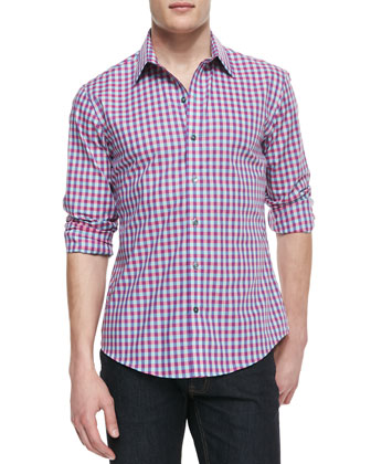 Box-Check Woven Shirt, Pink Multi