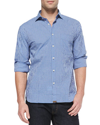 Woven Check Sport Shirt, Blue/White
