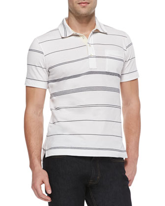 Multi-Striped Jersey Polo, White