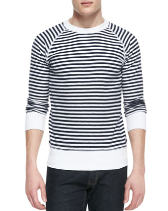 Crewneck Long-Sleeve Striped Shirt, Navy/White