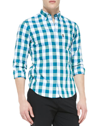Large-Gingham Button-Down Shirt, Emerald