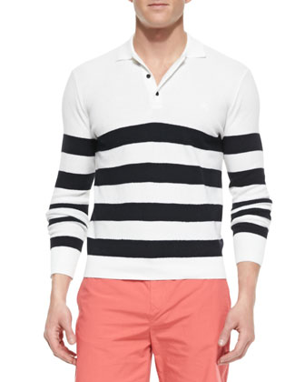 Striped Long-Sleeve Polo Shirt, White