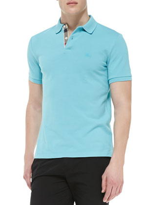 Check-Detail Pique Polo, Turquoise