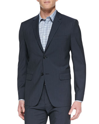Wellar Pinstripe Jacket, Dark Gray