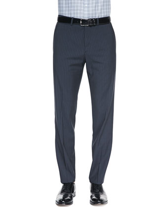 Marlo Pinstripe Trousers, Dark Gray