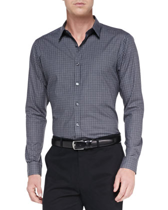 Zack Long-Sleeve Grid-Pattern Shirt, Charcoal
