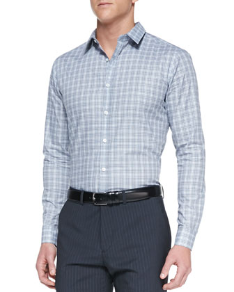 Zack PS Check Shirt, Light Gray