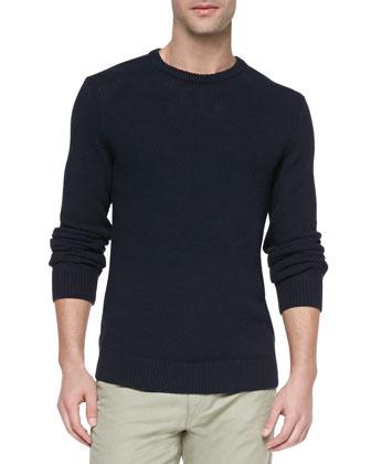 Riland Waffle-Knit Sweater, Navy