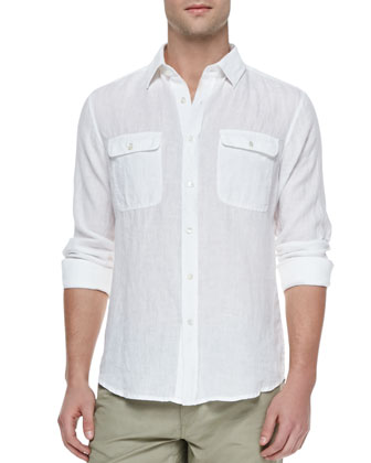Gerald Linen Button-Down Shirt, White