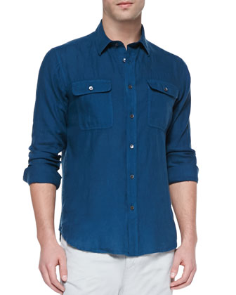 Gerald Linen Button-Down Shirt, Teal