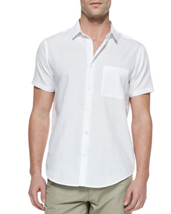 Emer Short-Sleeve 1-Pocket Shirt, White