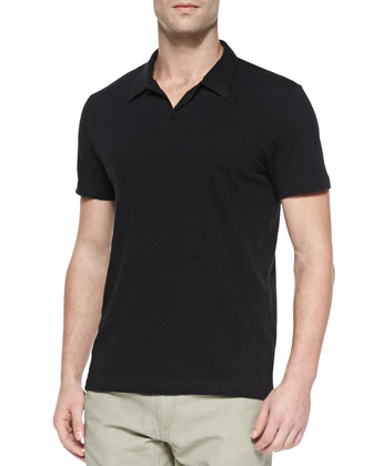 Willem Short-Sleeve No-Button Polo Shirt, Black