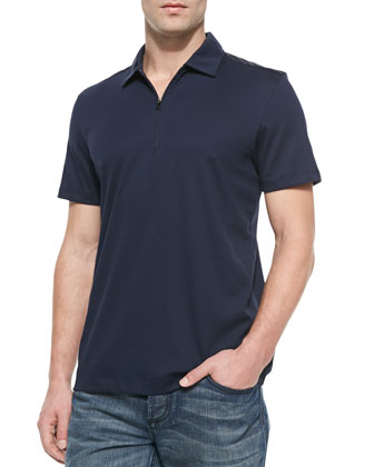 Nylon-Trim Zip Polo