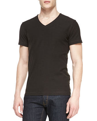 T. Toss Slub V-Neck Tee, Black