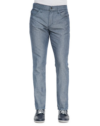 Braxton Ocean Five-Pocket Fitted Jeans, Light Blue