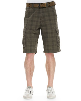 Plaid Twill Cargo Shorts