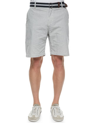 Striped Seersucker Shorts, Navy/White