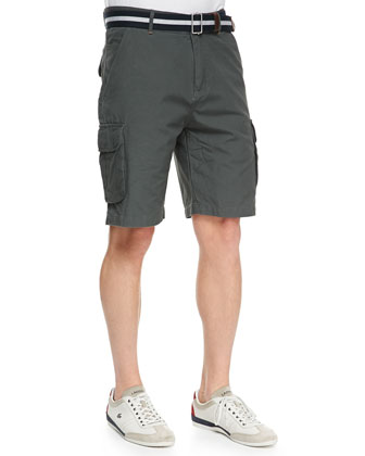 Canvas Cargo Shorts, Dark Gray
