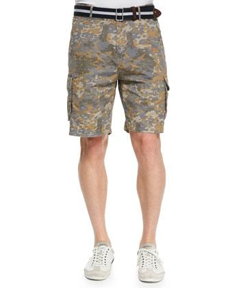 Khaki Camouflage Cargo Shorts, Beige
