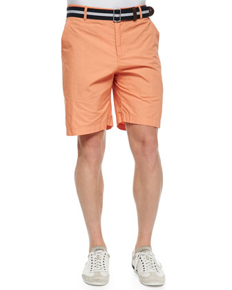 Flat Front Paper Twill Shorts, Orange