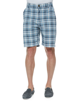 Gibson Plaid Flat-Front Shorts