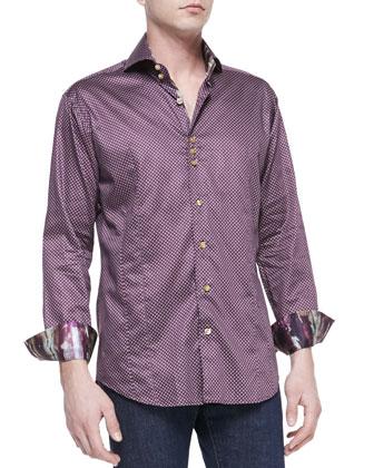 Micro-Print Sateen Sport Shirt, Wine