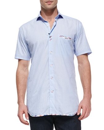 Short-Sleeve Woven Shirt with Printed Trim, Light Blue