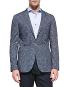 Lexi 62 Dot-Jacquard Jacket, Navy
