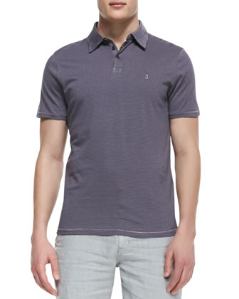 Soft-Collar Peace Sign Stripe Polo, Purple