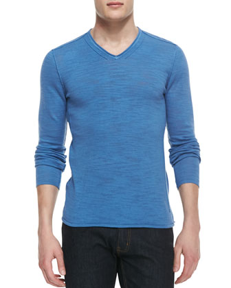 Long-Sleeve V-Neck T-Shirt, Blue