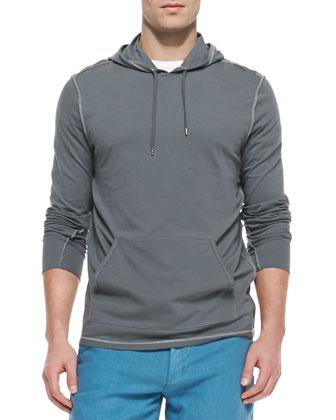 Knit Pullover Hoodie, Dark Gray