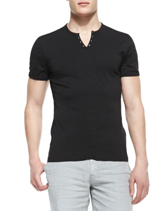 Split-Neck Short-Sleeve Henly Tee, Black
