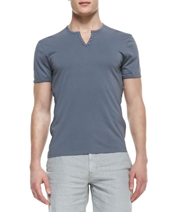 Split-Neck Short-Sleeve Tee, Dark Gray