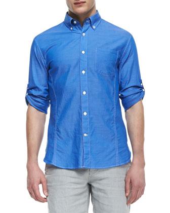 Roll-Sleeve Button-Down Shirt, Blue Topaz