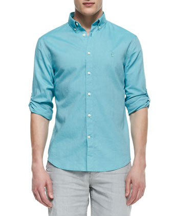 Roll-Up Button-Down Shirt, Blue Roll-Green